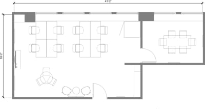 Floor plan for Breather office space 465 California St., 12th Floor, Suite 1290