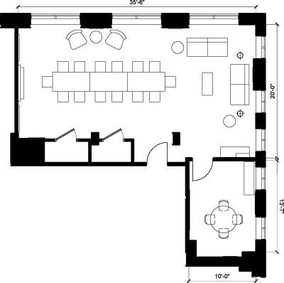 Floor plan for Breather office space 50 Rue Queen, 2nd Floor, Suite 201