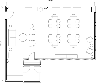Floor plan for Breather office space 54 West 21st Street, 6th Floor, Suite 601, Room B