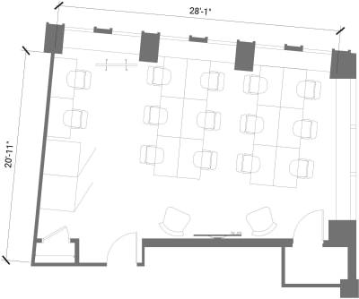 Floor plan for Breather office space 55 Broad Street, 23rd Floor
