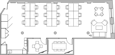 Floor plan for Breather office space 594 Broadway, 11th Floor, Suite 1106
