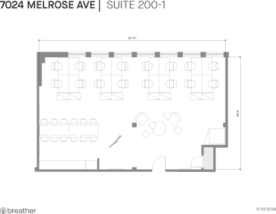 Floor plan for Breather office space 7024 Melrose Ave., 2nd Floor, Suite 200, Room 1