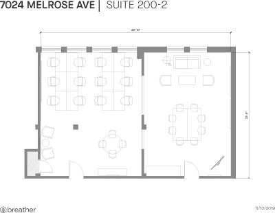 Floor plan for Breather office space 7024 Melrose Ave., 2nd Floor, Suite 200, Room 2