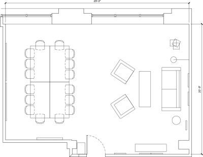 Floor plan for Breather office space 720 N. Franklin, 4th Floor, Suite 402, Room 1