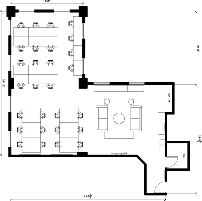 Floor plan for Breather office space 724 S. Spring St., 14th Floor, Suite 1404
