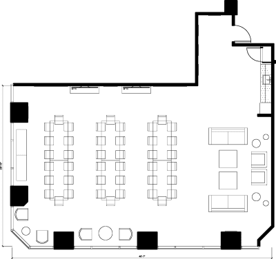 Floor plan for Breather office space 725 S. Figueroa St., 10th Floor, Suite 1010