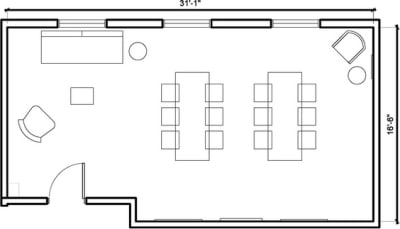 Floor plan for Breather office space 7561 Sunset Blvd., 2nd Floor, Suite 202