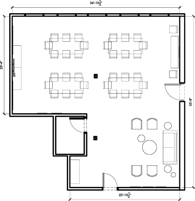 Floor plan for Breather office space 813 W. Randolph, 2nd Floor, Suite 200, Room A