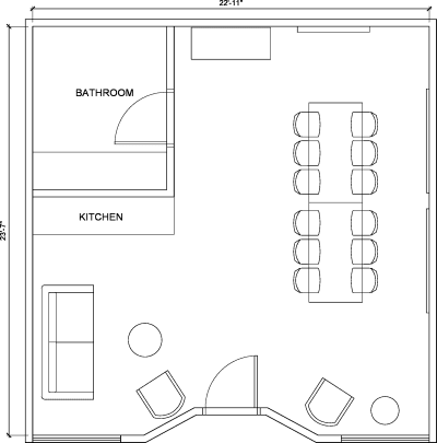 Floor plan for Breather office space 8500 Steller Dr., Suite 2