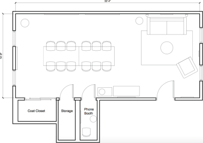 Floor plan for Breather office space 87 Wendell Street, 3rd Floor, Room 1