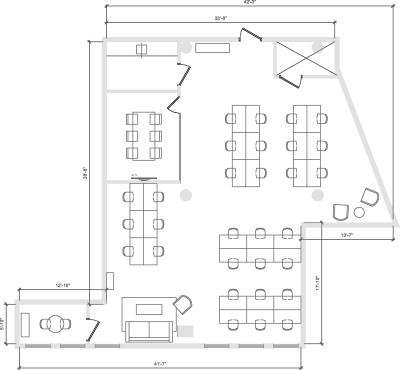 Floor plan for Breather office space 900 Broadway, 10th Floor, Suite 1003