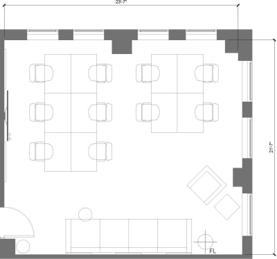 Floor plan for Breather office space 915 Broadway, 8th Floor, Suite 803, Room 2