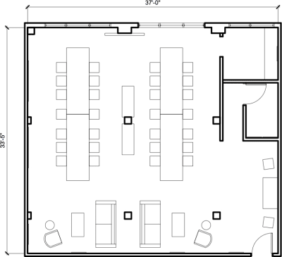 Floor plan for Breather office space 954 W. Washington Blvd., 4th Floor, Suite 402