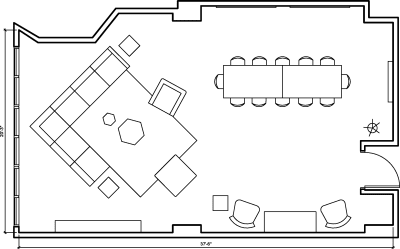Floor plan for Breather office space 96 Spadina Ave., 2nd Floor, Suite 208