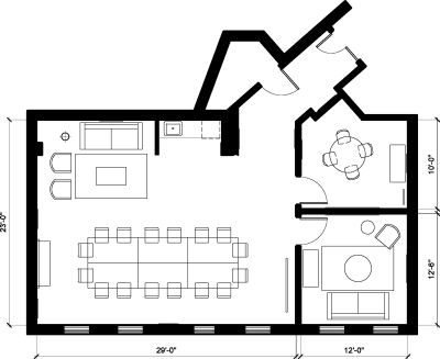 Floor plan for Breather office space 8255 Beverly Blvd., 2nd Floor, Suite 217