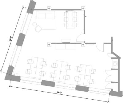 Floor plan for Breather office space 1 Dufferin Street, Shoreditch, 4th Floor, Room 1