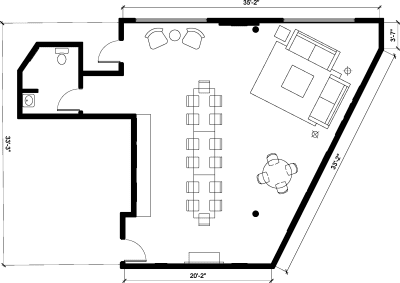 Floor plan for Breather office space 320 Lincoln Blvd., 1st Floor, Suite 120