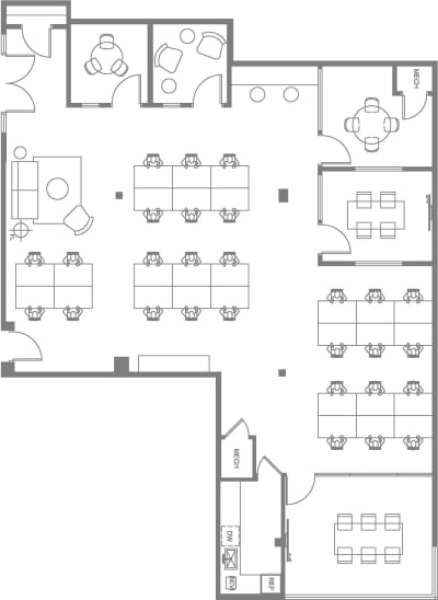 Floor plan for Breather office space 8322 Beverly Blvd., 2nd Floor, Suite 204