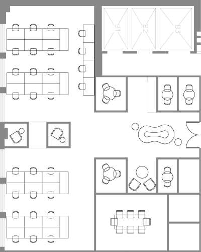 Floor plan for Breather office space Coming Soon: 150 W 30th, 2nd Floor, Suite 204