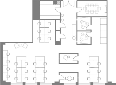 Floor plan for Breather office space Coming Soon: 150 West 30th, 2nd Floor, Suite 204