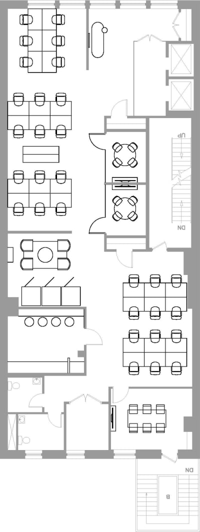 Floor plan for Breather office space Coming Soon: 184 5th Ave, 4th Floor