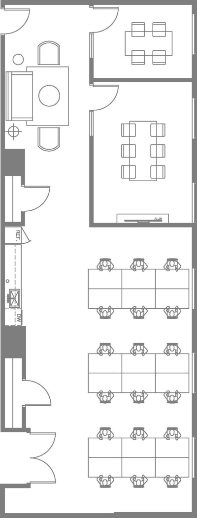 Floor plan for Breather office space 225 Bush St., 18th Floor, Suite 1820