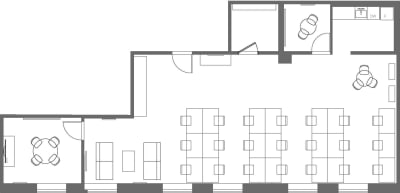 Floor plan for Breather office space 225 Bush St., 3rd Floor, Suite 370