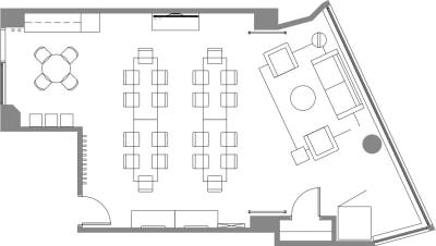 Floor plan for Breather office space 564 Market St., Mezzanine Floor, Suite 150