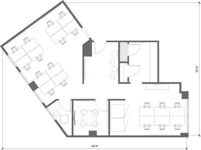 Floor plan for Breather office space 564 Market St., 3rd Floor, Suite 305