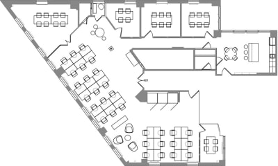 Floor plan for Breather office space 564 Market St., 4th Floor, Suite 401