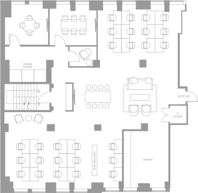 Floor plan for Breather office space Coming Soon: 25 Adelaide Street E, 3rd Floor, Suite 304