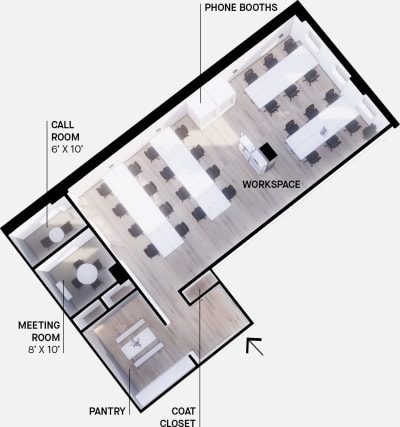 Floor plan for Breather office space 425 Adelaide St. West, 7th Floor, Suite 700, Room 2