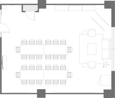 Floor plan for Breather office space 555 Richmond, 4th Floor, Suite 410