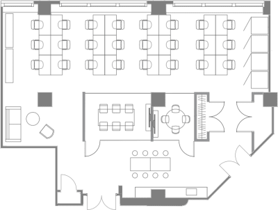 Floor plan for Breather office space 96 Spadina Ave., 3rd Floor, Suite 302, Room 1
