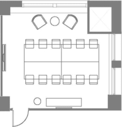 Floor plan for Breather office space 96 Spadina Ave., 3rd Floor, Suite 302, Room 2
