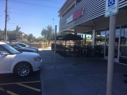 <h5>Smashburger</h5><p>Accessible parking spots right in front of entrance.</p>