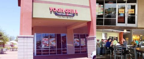 <h5>Yogis Grill exterior, entrance and interior</h5>