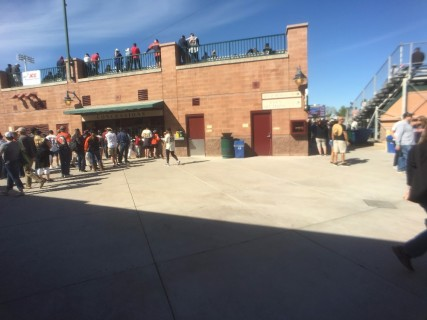 <h5>Scottsdale Stadium</h5><p>Red door to the right (without the steel kick panel) is the entrance to the Family Restroom, behind the first base line.</p>