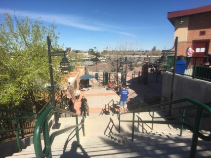 <h5>Scottsdale Stadium</h5><p>View of Gate A from the top of the steps.  There's an elevator in the building to the right (to your left when entering the stadium).  The accessible lot is on the other side of the circular drive outside the gate.</p>