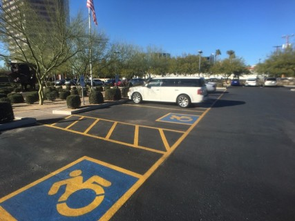 <h5>Phoenix Art Museum</h5><p> There are five accessible parking spots in the lot.</p>