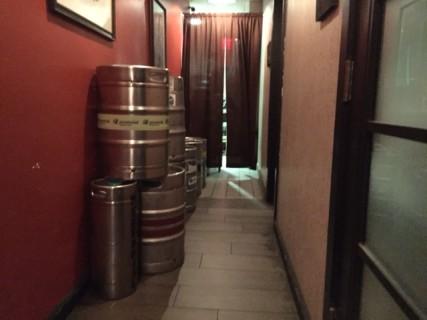 <h5>Kegs in hallway to the bathrooms</h5>