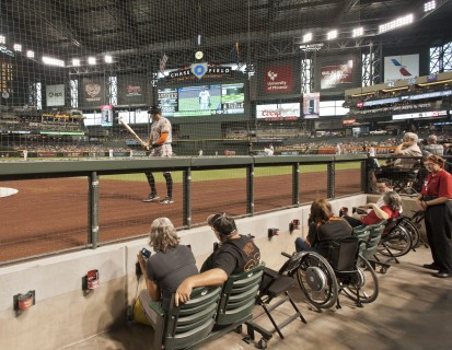 <h5>Field level accessible seating near the batter's box</h5>