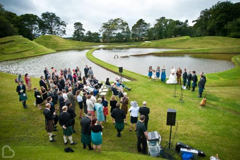 Golf course outdoor wedding venue Jupiter Artland in West Lothian