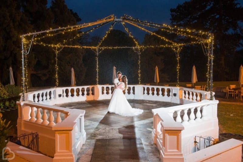 Stourport Manor wedding venue, a couple dances in a gazebo, in Worcestershire
