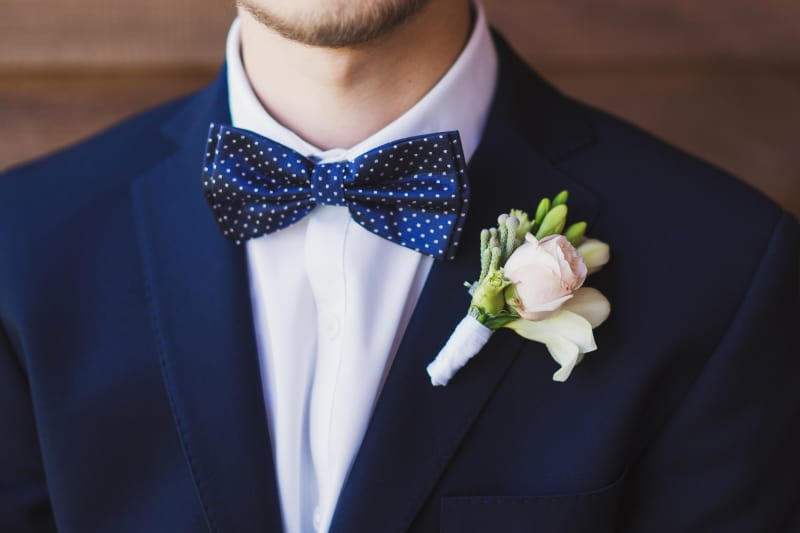 Bridebook.co.uk Groom polkadot blue bowtie