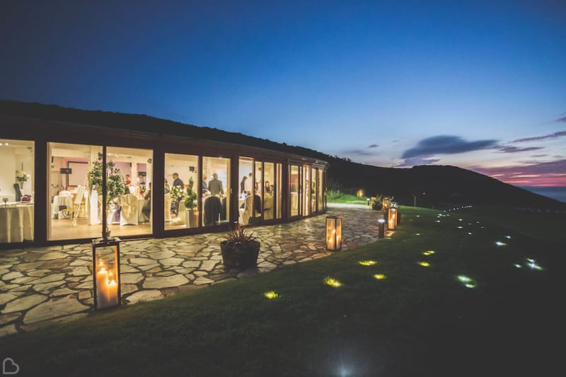 ocean kave at night a beach wedding venue in devon