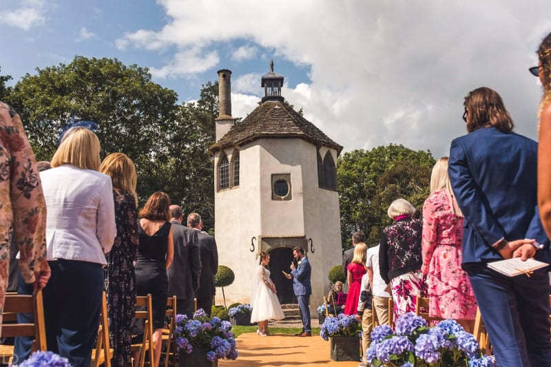 wedding ceremony going on at homme house a historic wedding venue in the uk