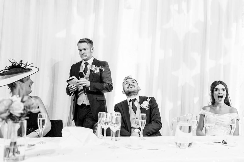 wedding guests laugh at wedding speech. best wedding photos of 2018