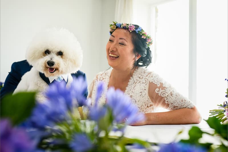 bride laughs as it looks like her dog is her groom