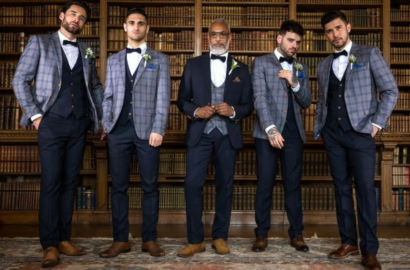 Groomsmen wearing wedding suits